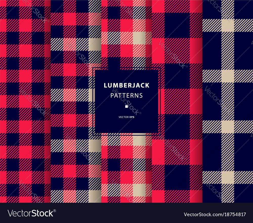 Lumberjack seamless patterns set