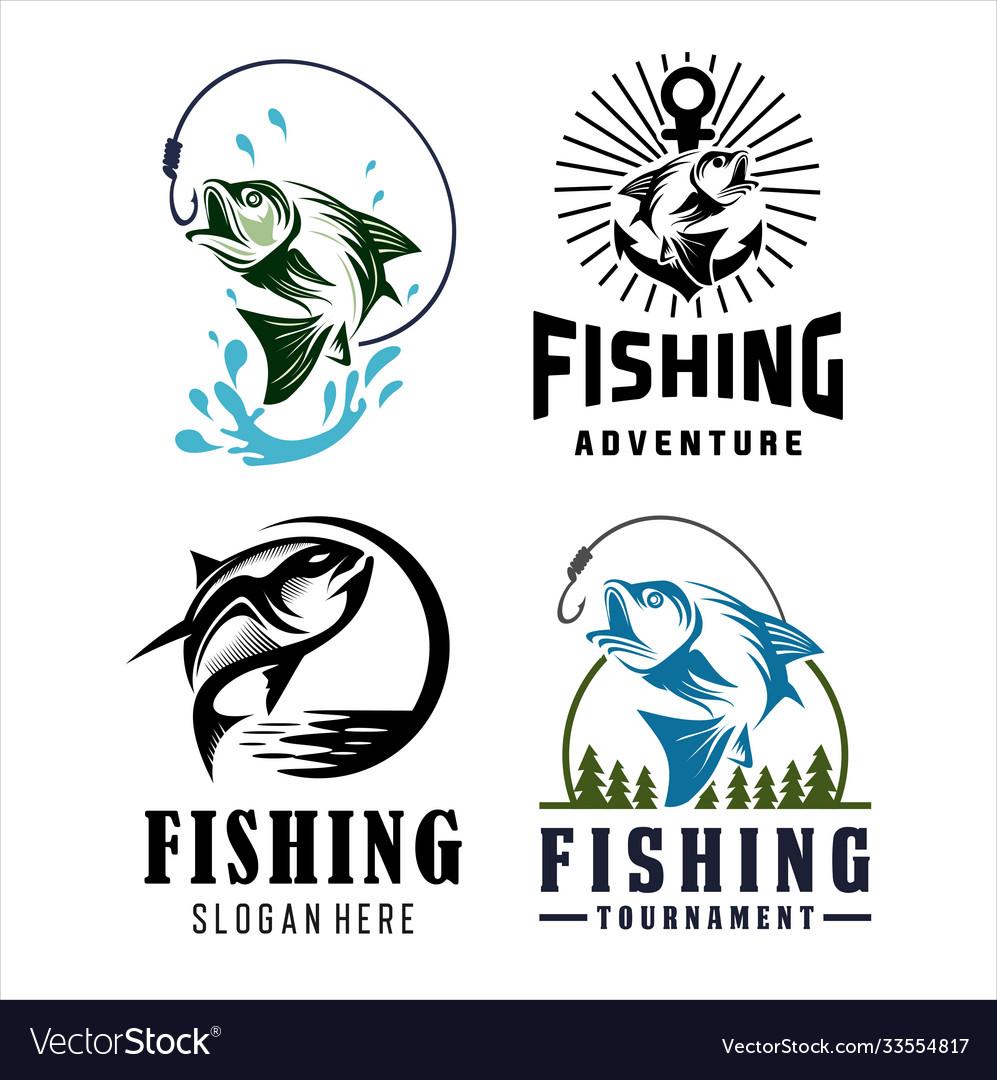 Set fishing tournament design logo