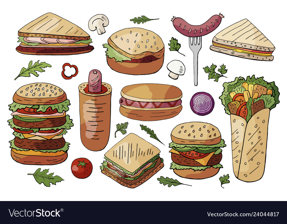 Set of different street food sandwiches and