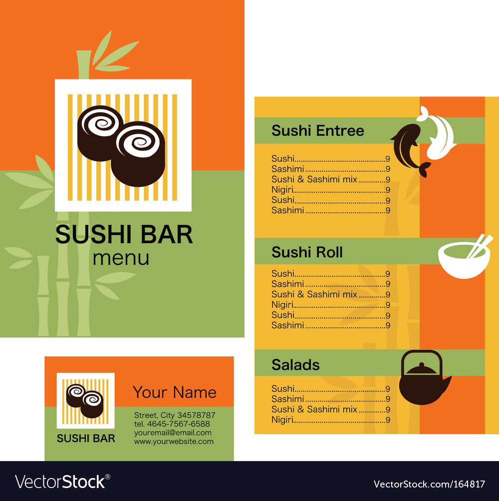 Sushi bar menu vector image