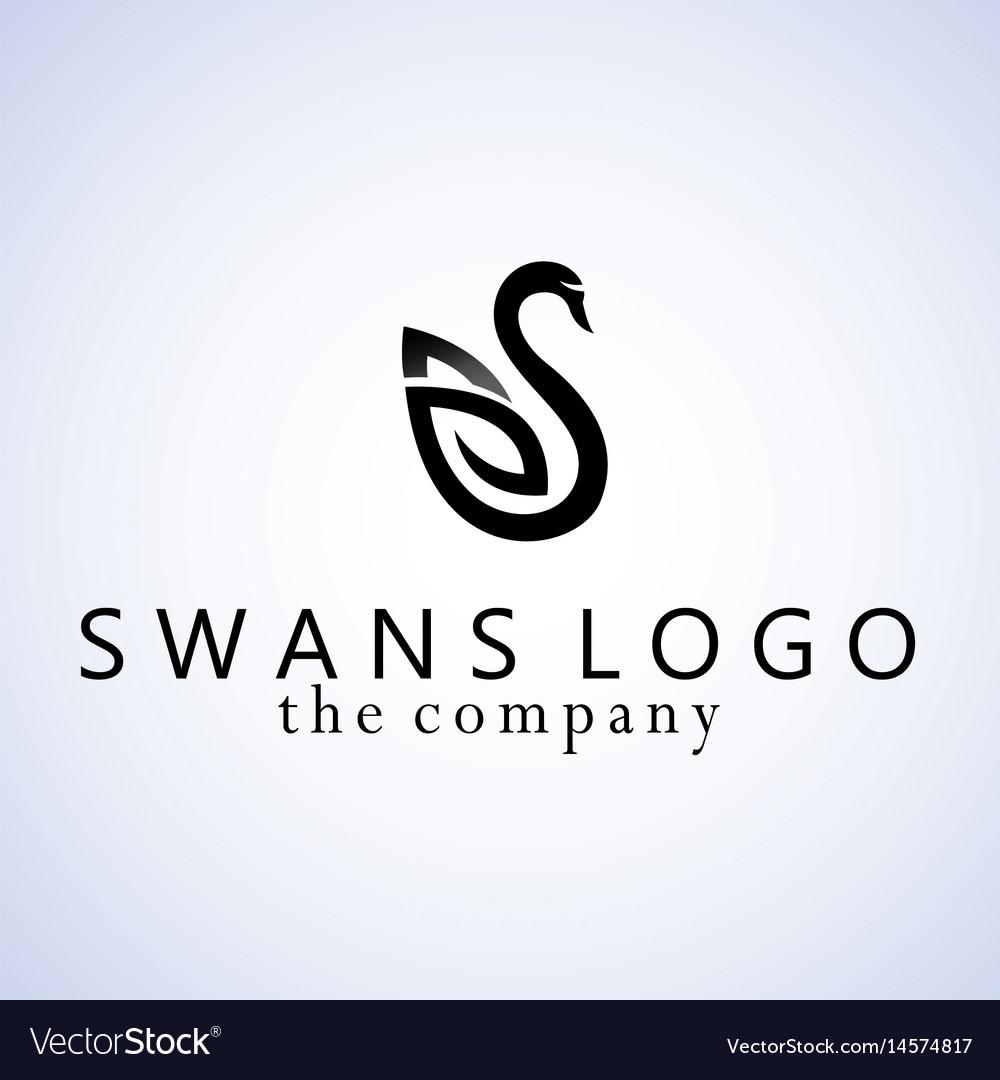 Swans design on background vector image