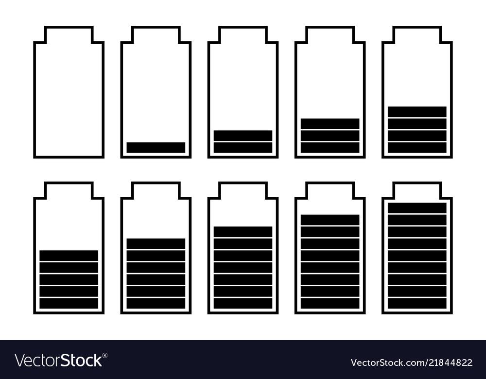 A set of ten batteries