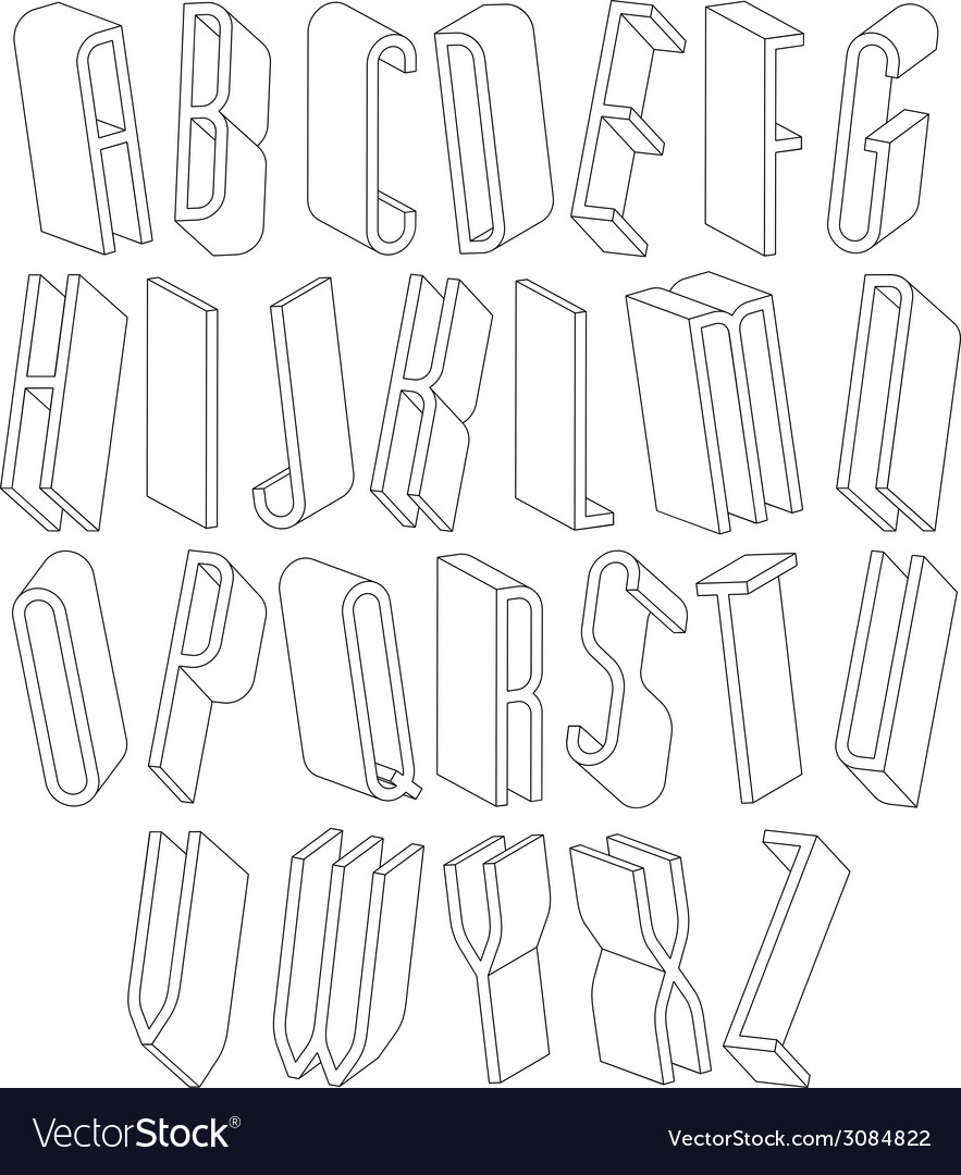 Black and white 3d font made with thin lines vector image on vectorstock