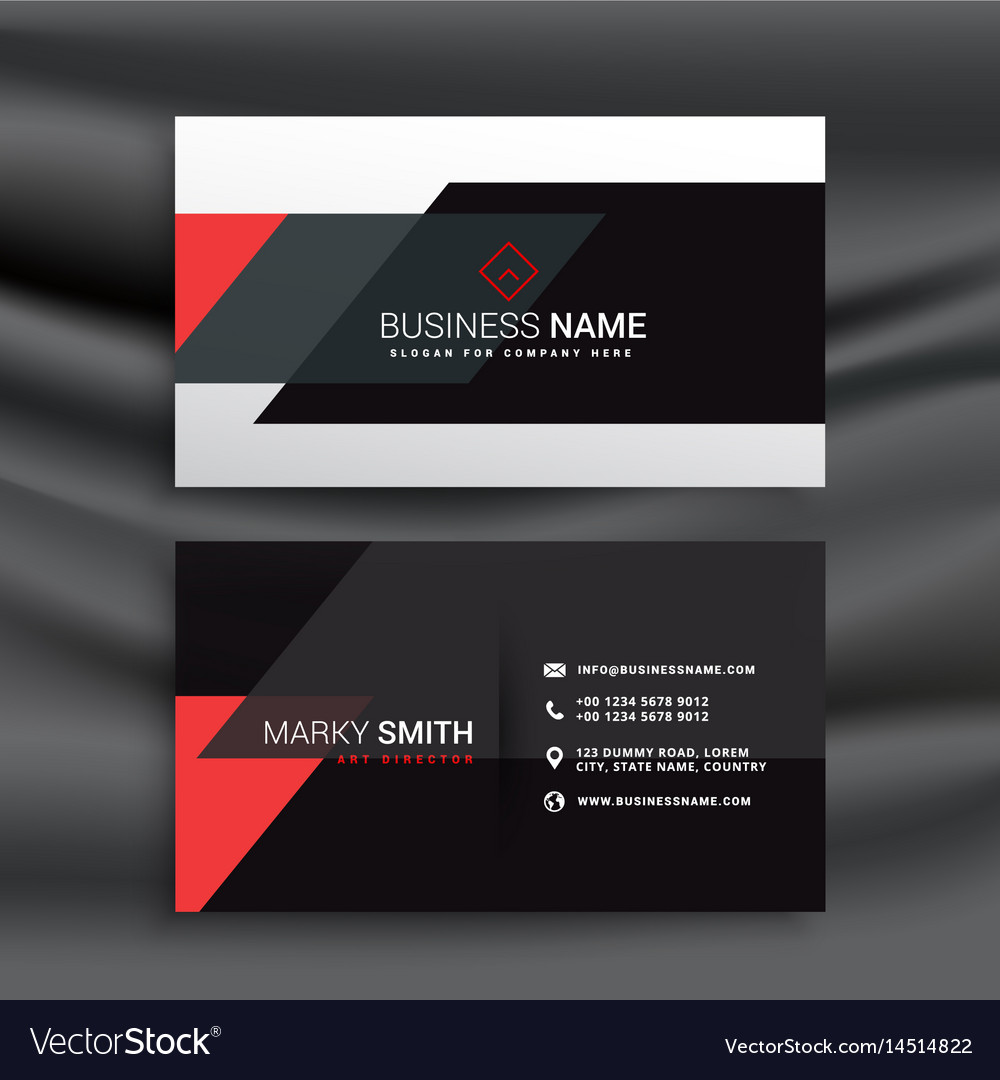 Fantastic Red And Black Business Card Design Vector Image