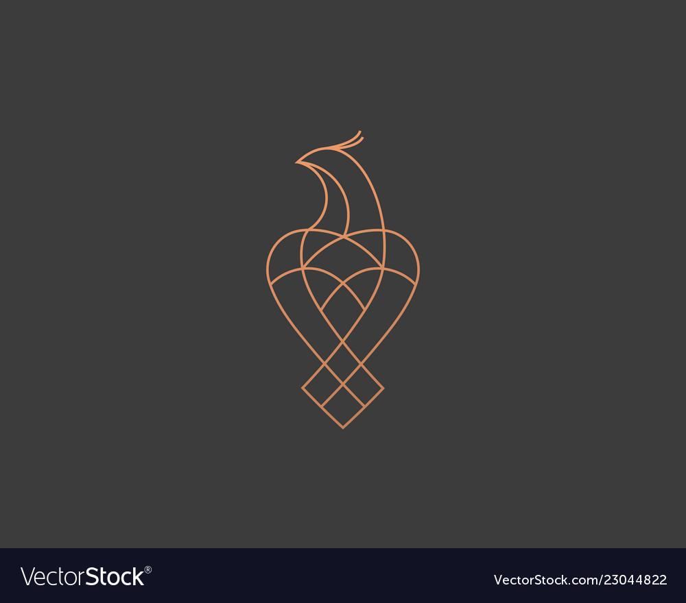 Luxury bird eagle hawk line logo design