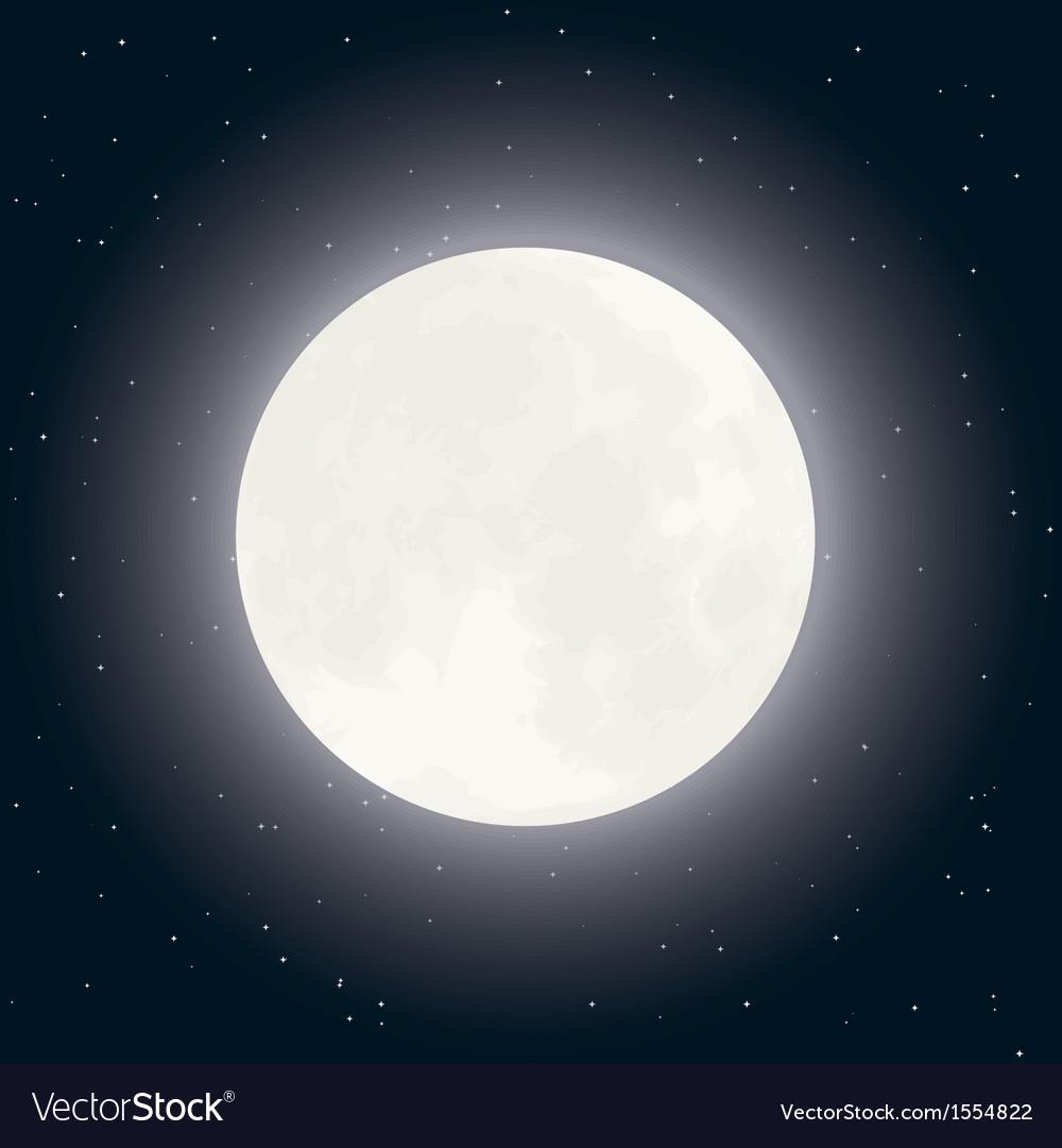 Moon and stars on dark sky