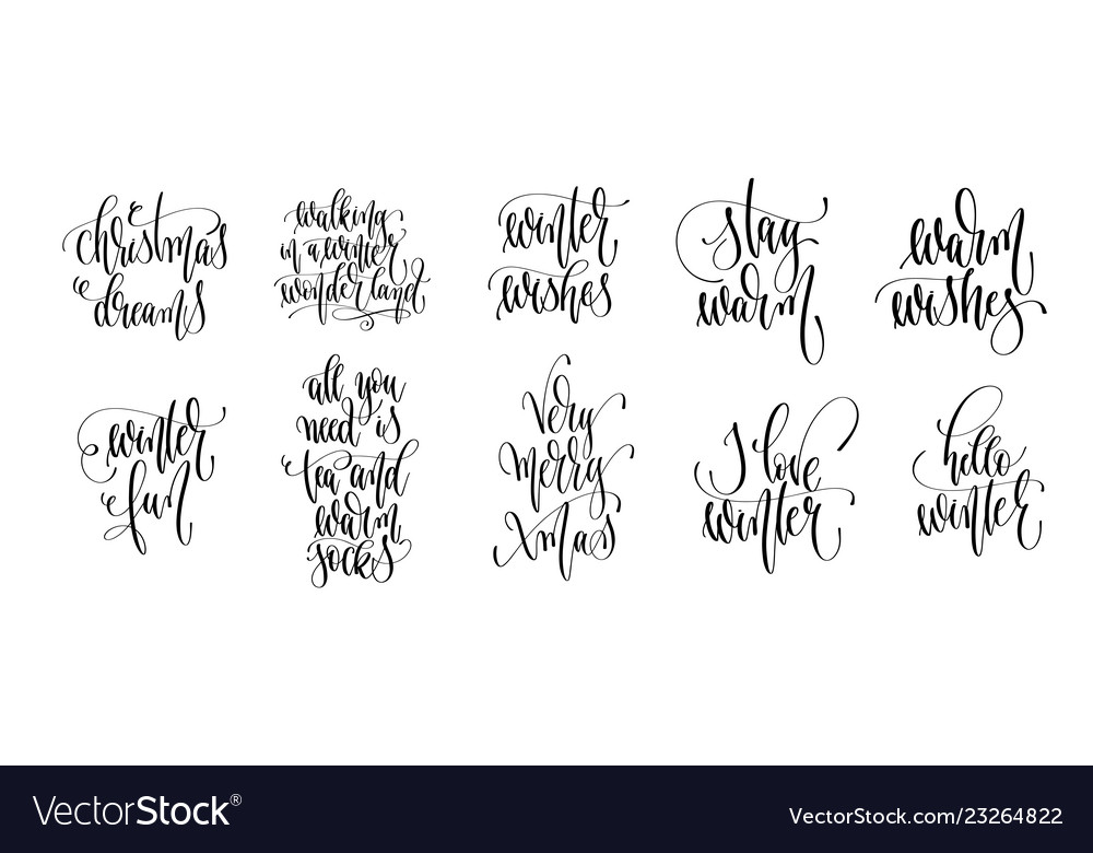 Set of 10 hand lettering inscription text to