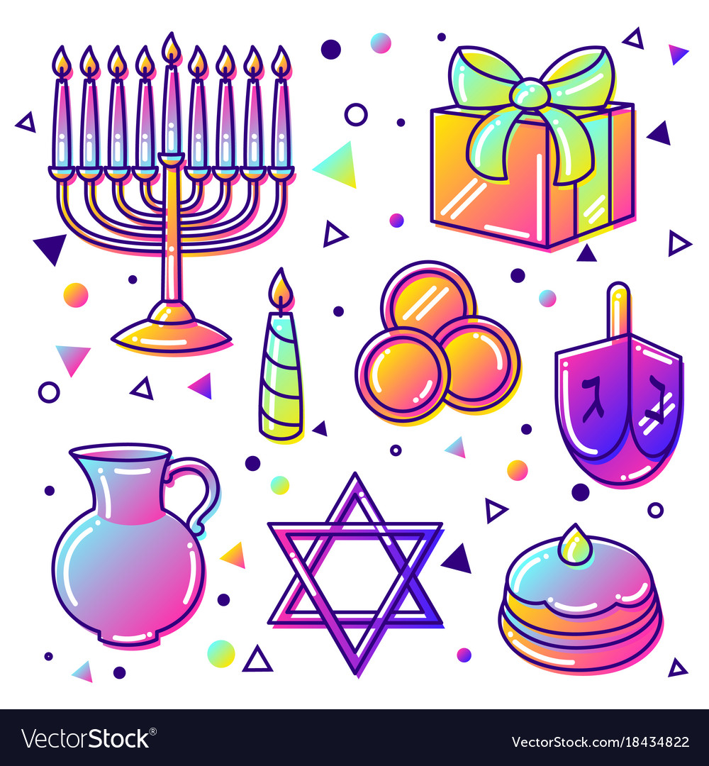 Set of happy hanukkah celebration objects and