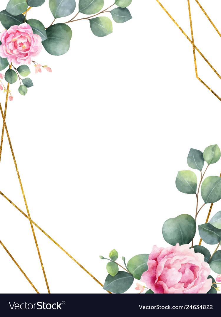 Watercolor invitation with green eucalyptus