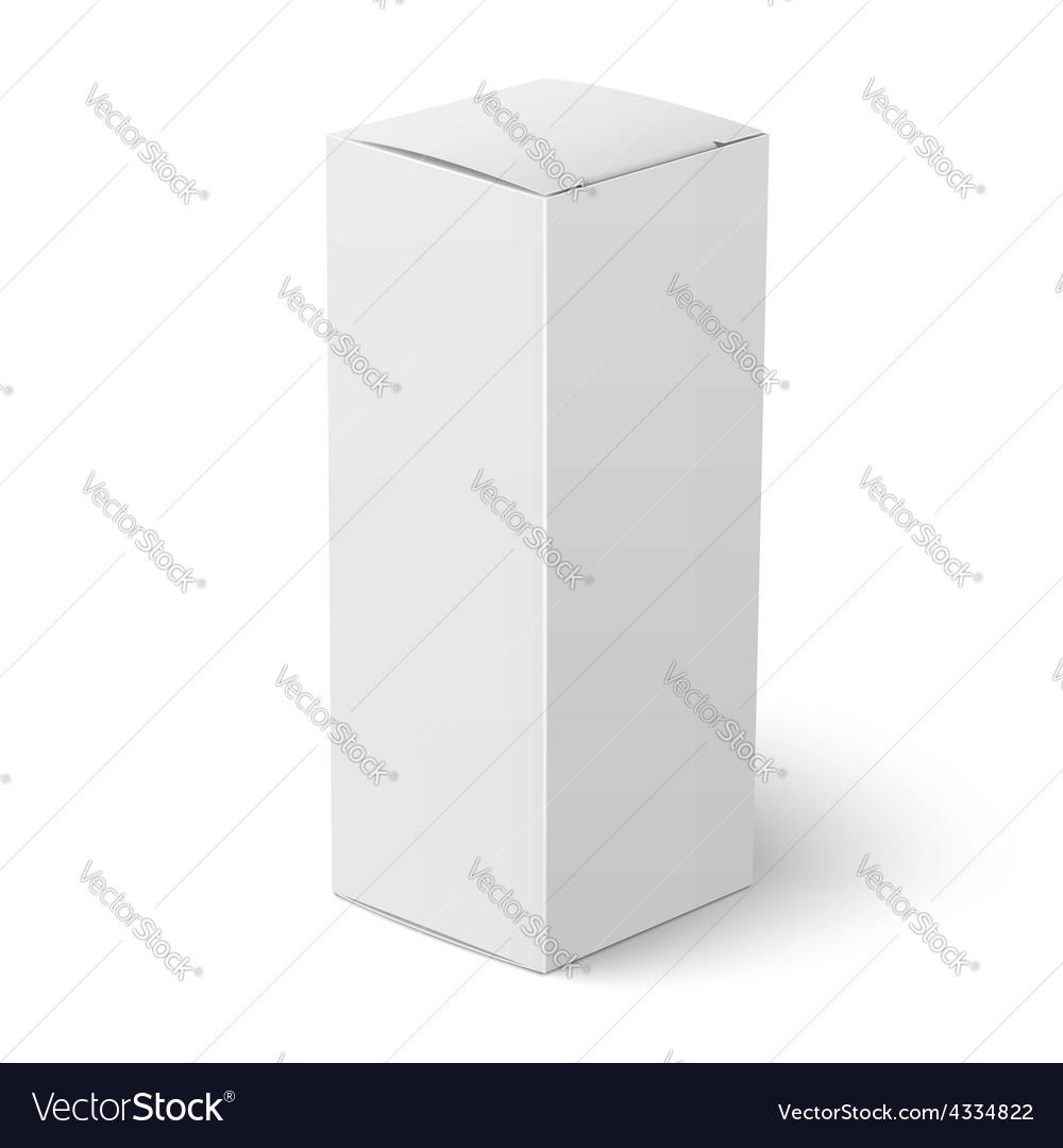 White vertical paper box template