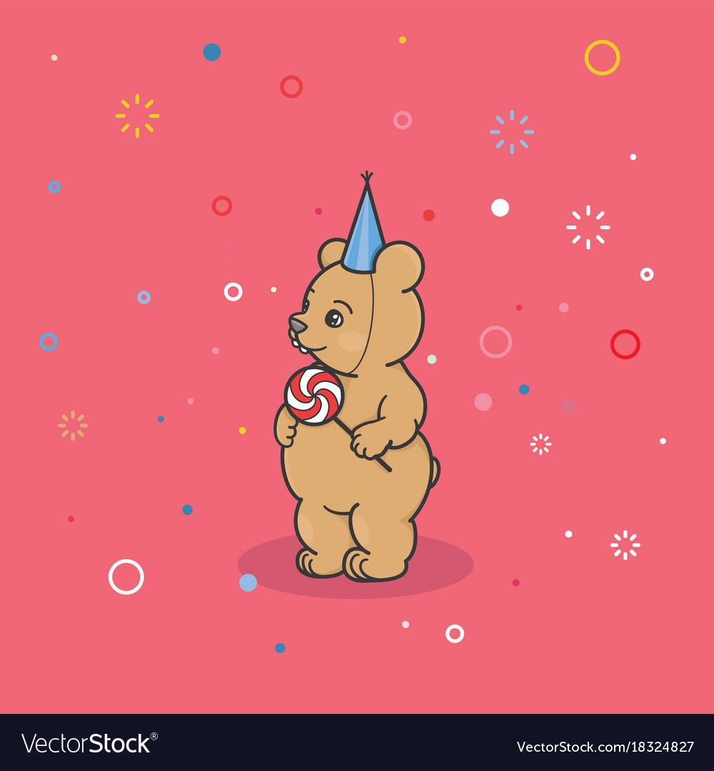 A bear cub in a festive cap