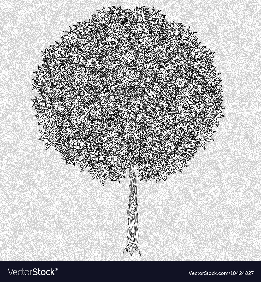 Abstract tree drawing vector image
