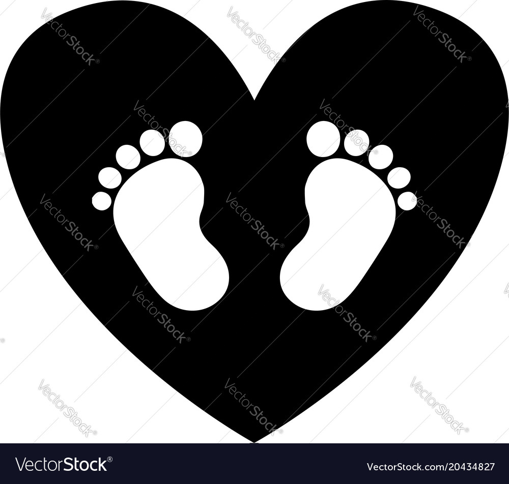 Baby footprints inside of black heart icon vector image