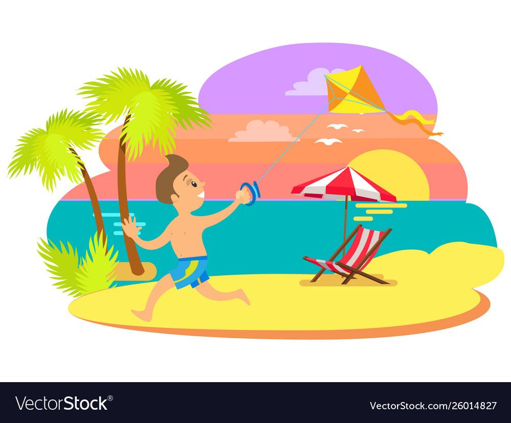 Boy kid having fun summertime vacations sunset