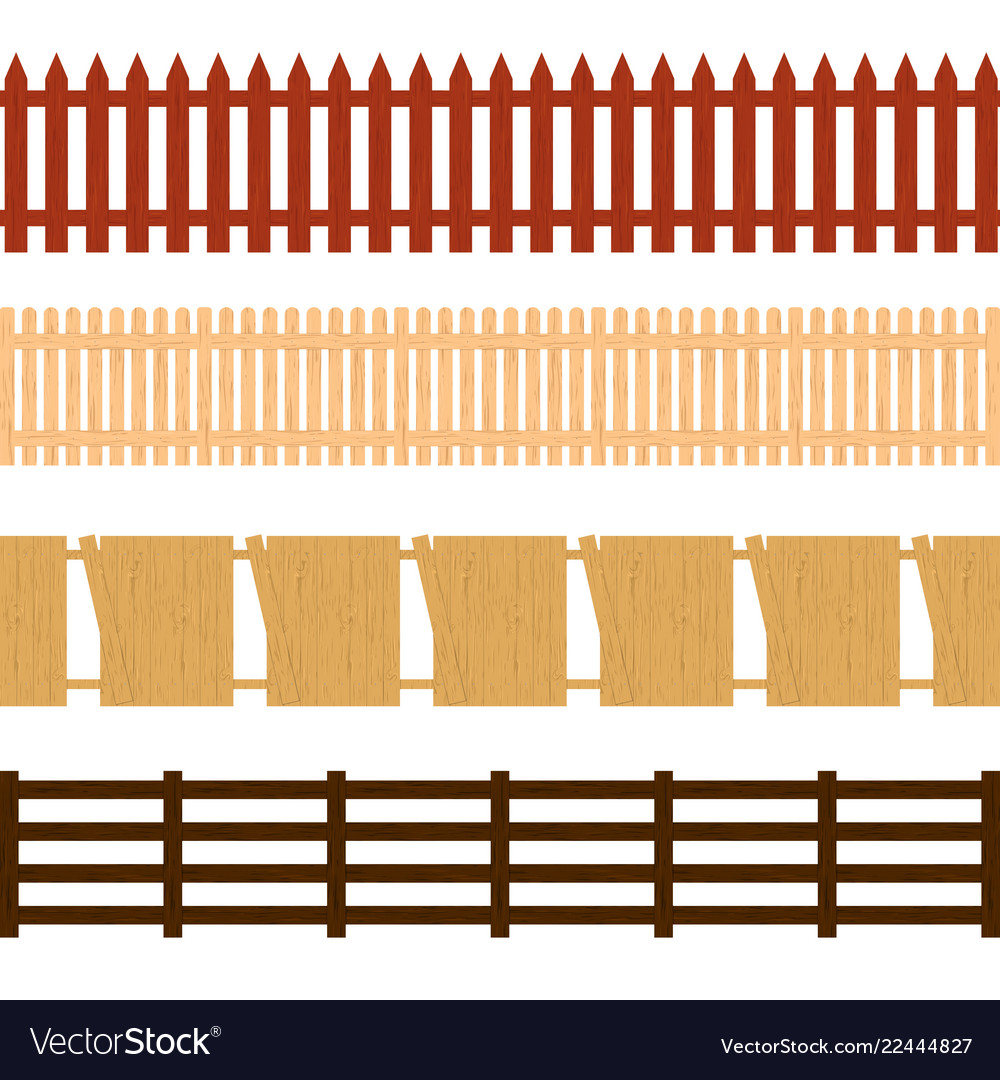 Cartoon color wooden fence seamless pattern