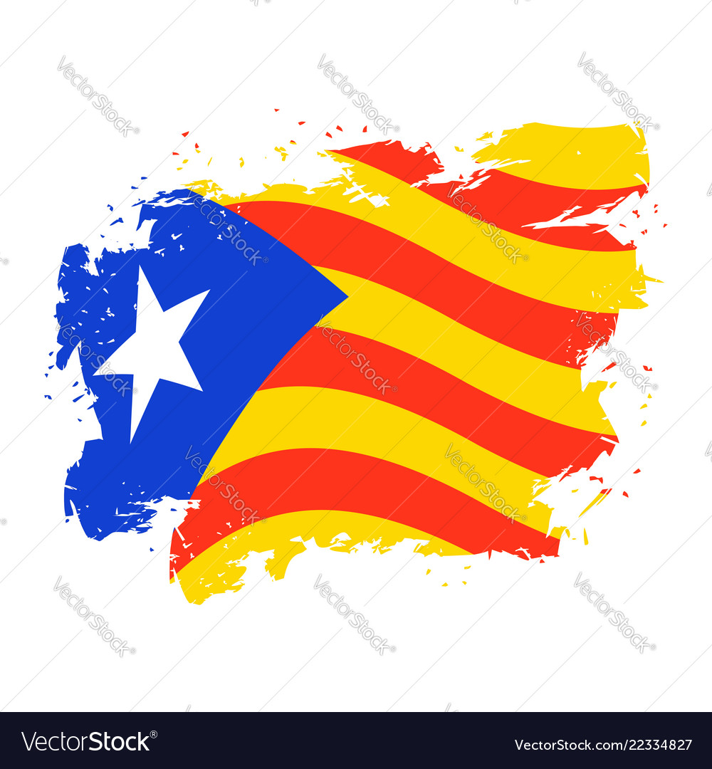 Catalonia flag grunge style brush and drops