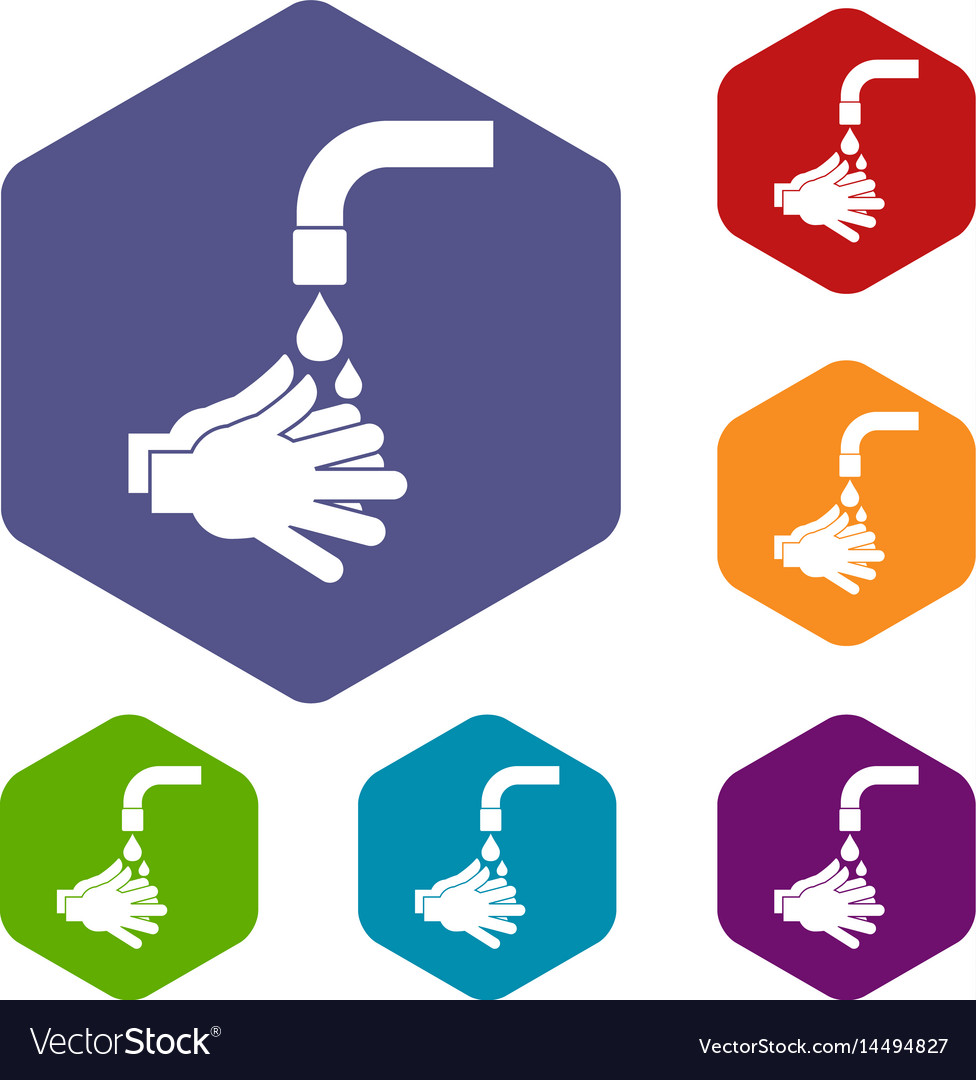 Cleaning hands icons set hexagon