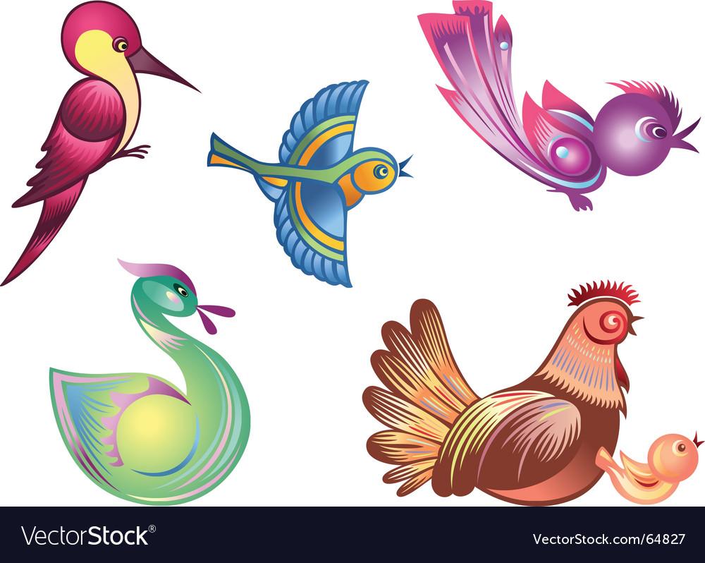 Color birds vector image