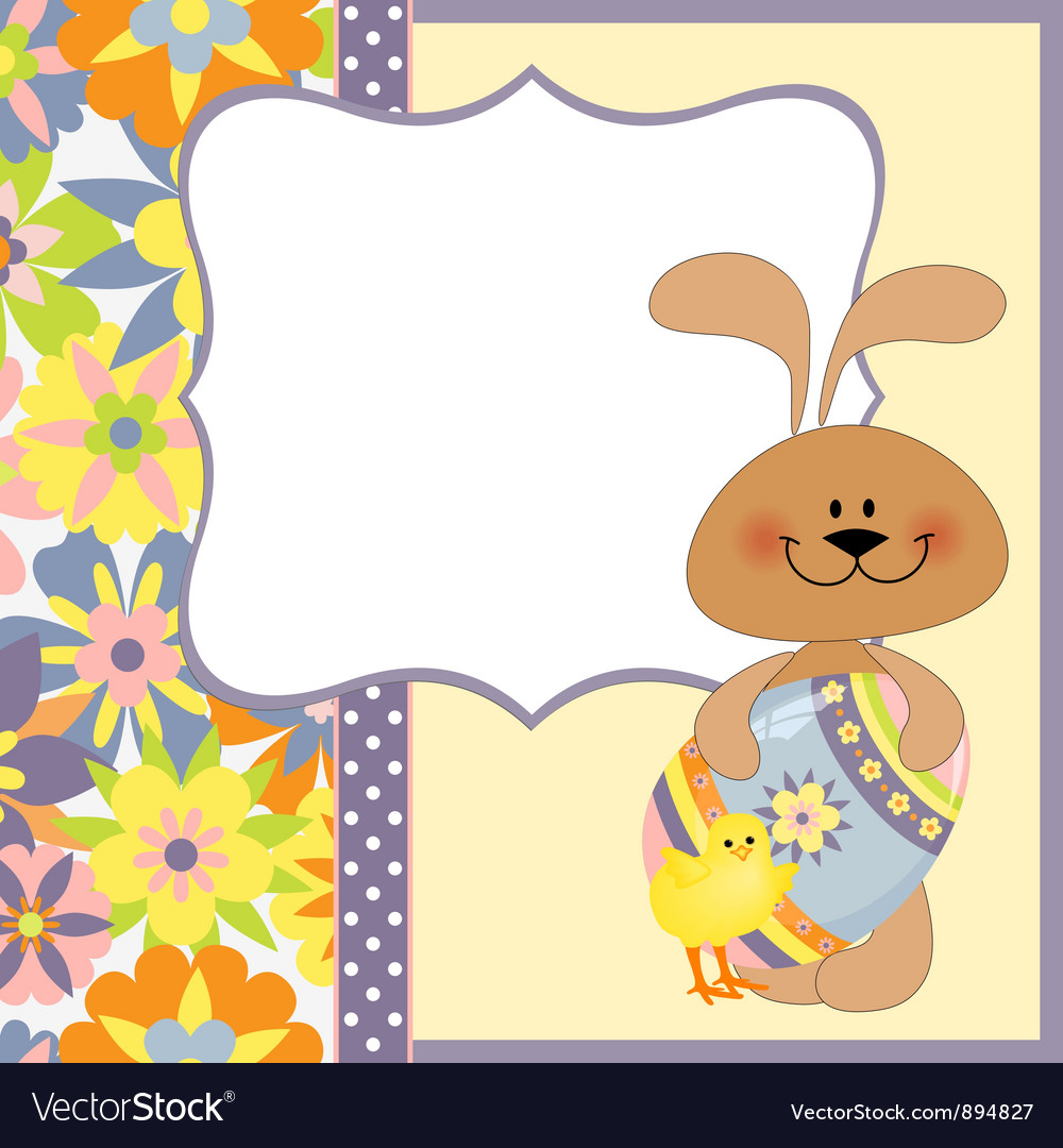 Cute Template For Easter Greetings Card Royalty Free Vector