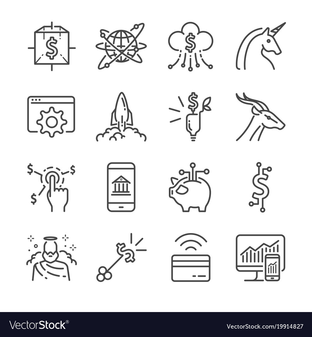 Fintech and startup line icon set