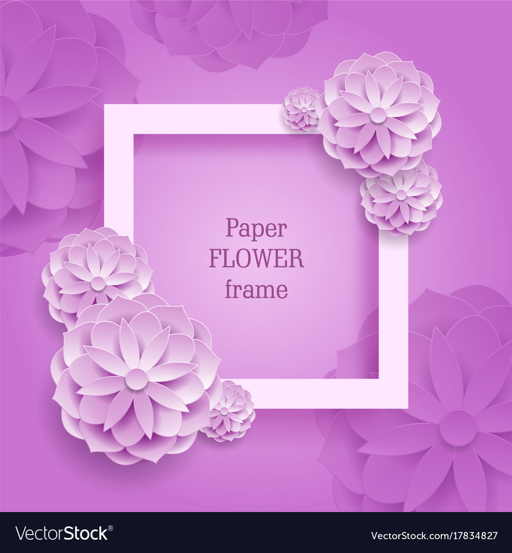 Paper flower square frame silver background