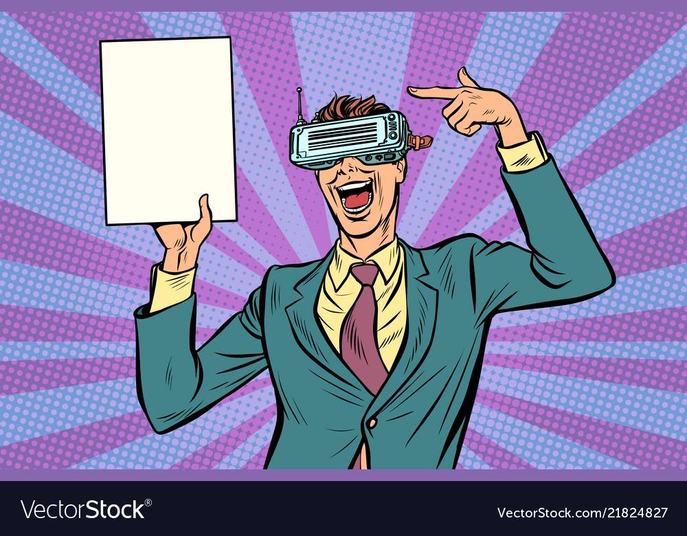 Pop art virtual reality vr glasses businessman