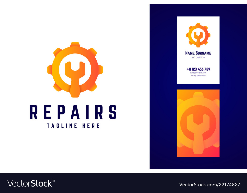 Repair logo and business card template gear sign