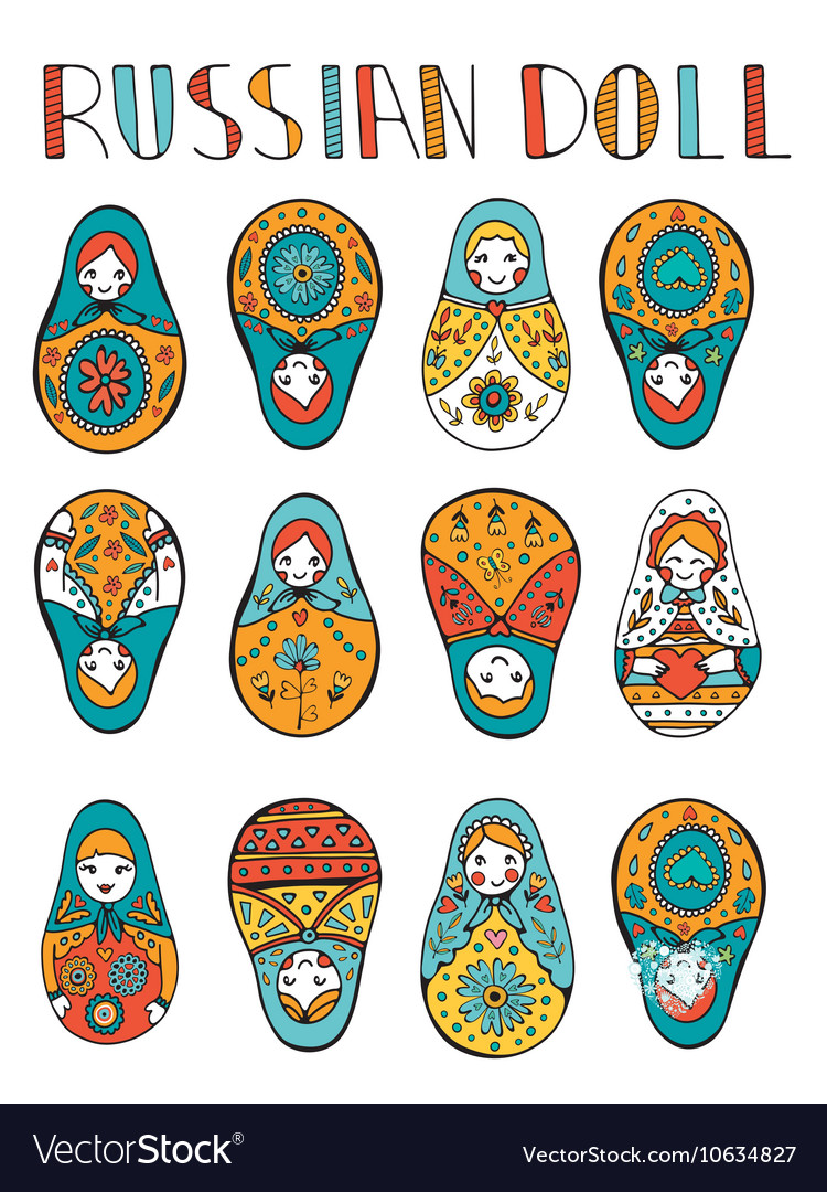 Russian dolls colorful collection