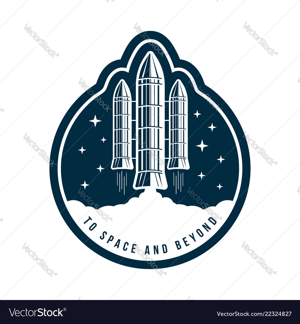 Space badge with rocket launch vintage astronaut