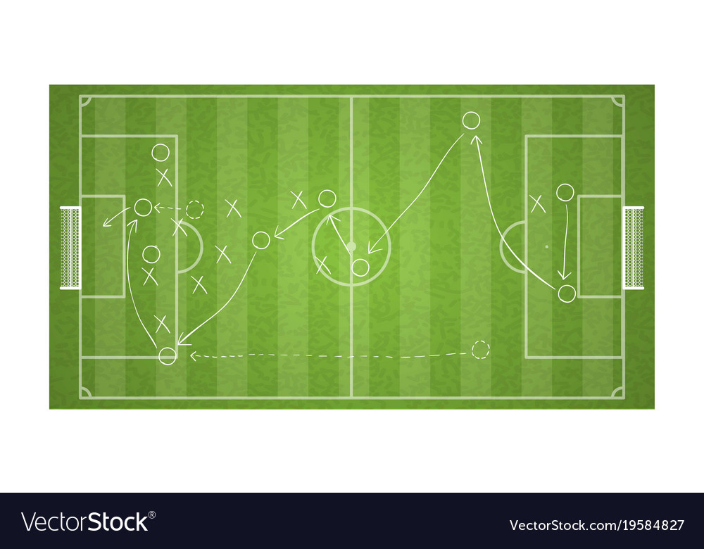 Top View Football Field Drawing A Soccer Game Vector Image
