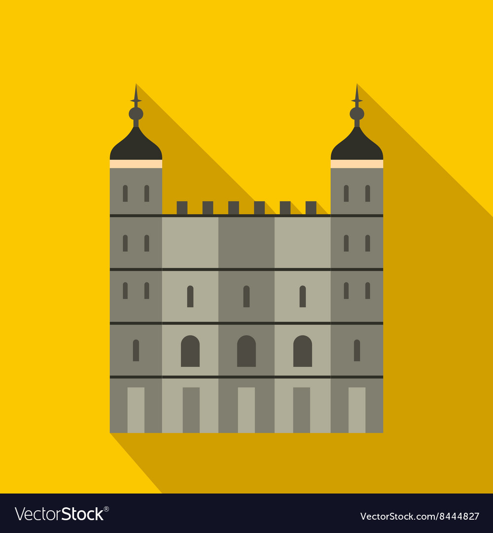Tower of London in England icon flat style
