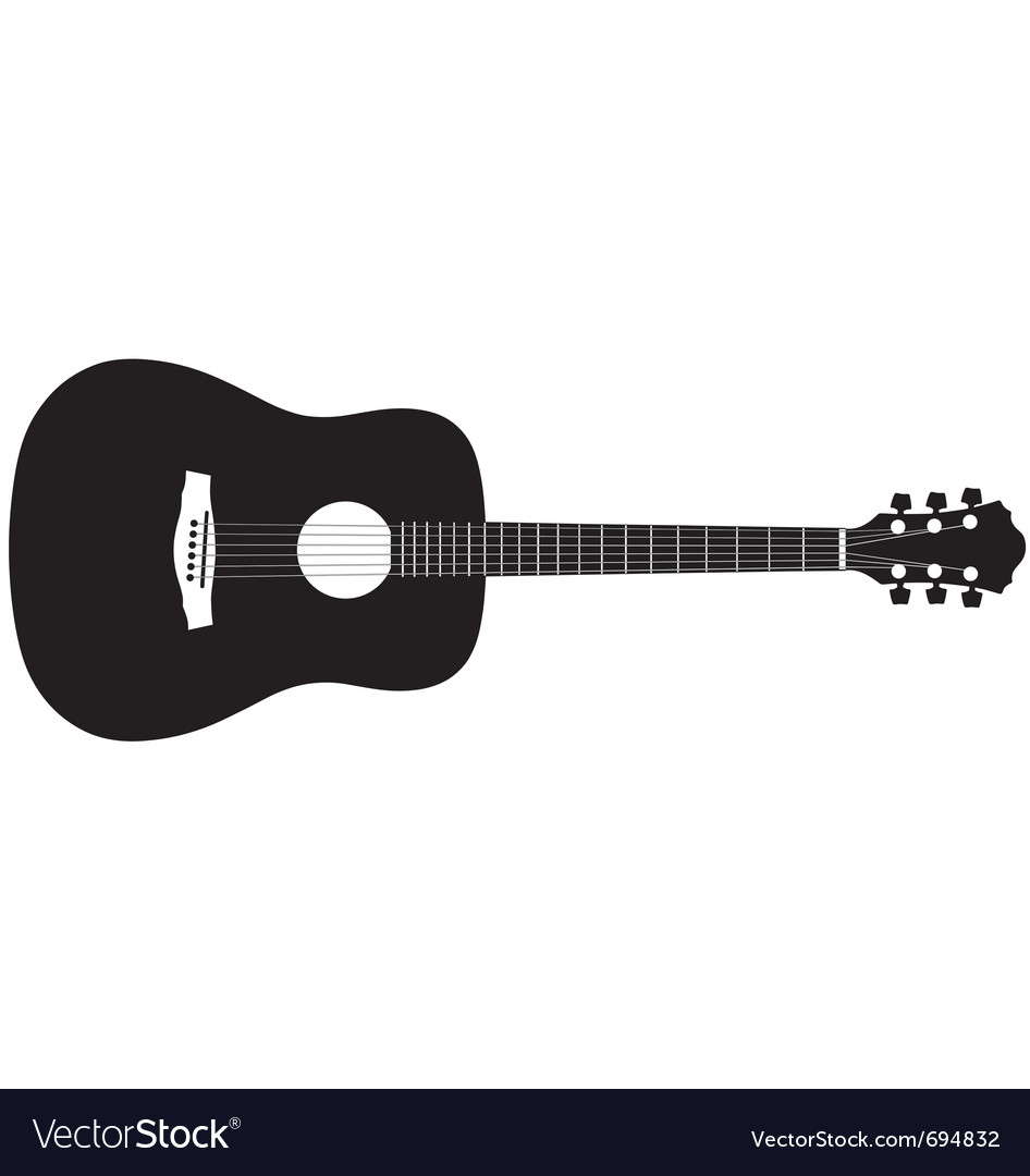 acoustic guitar silhouette royalty free vector image rh vectorstock com acoustic guitar vector art acoustic guitar headstock vector