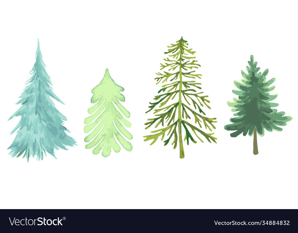 Colorful christmas trees collection different
