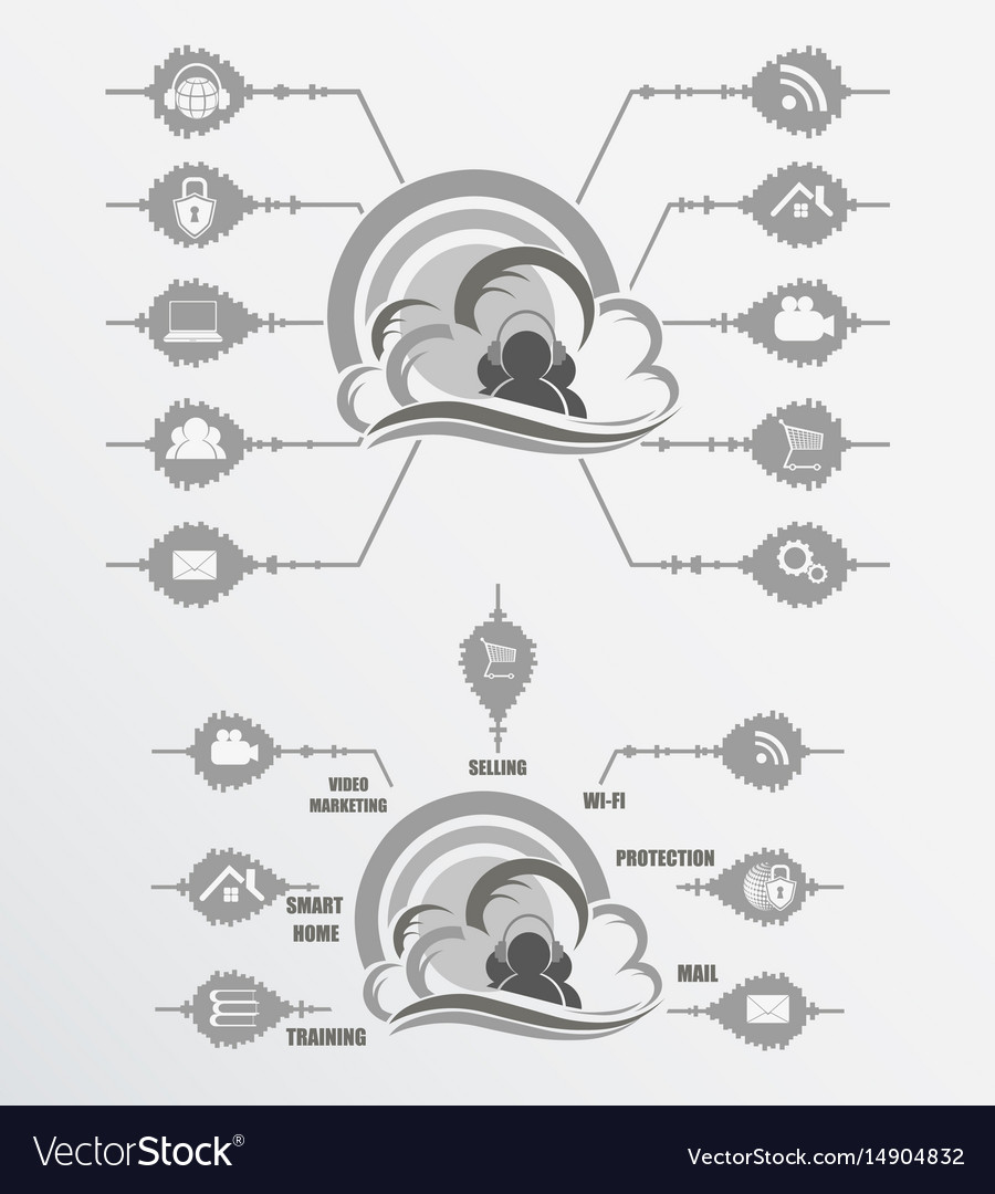 Computer cloud black and white vector image