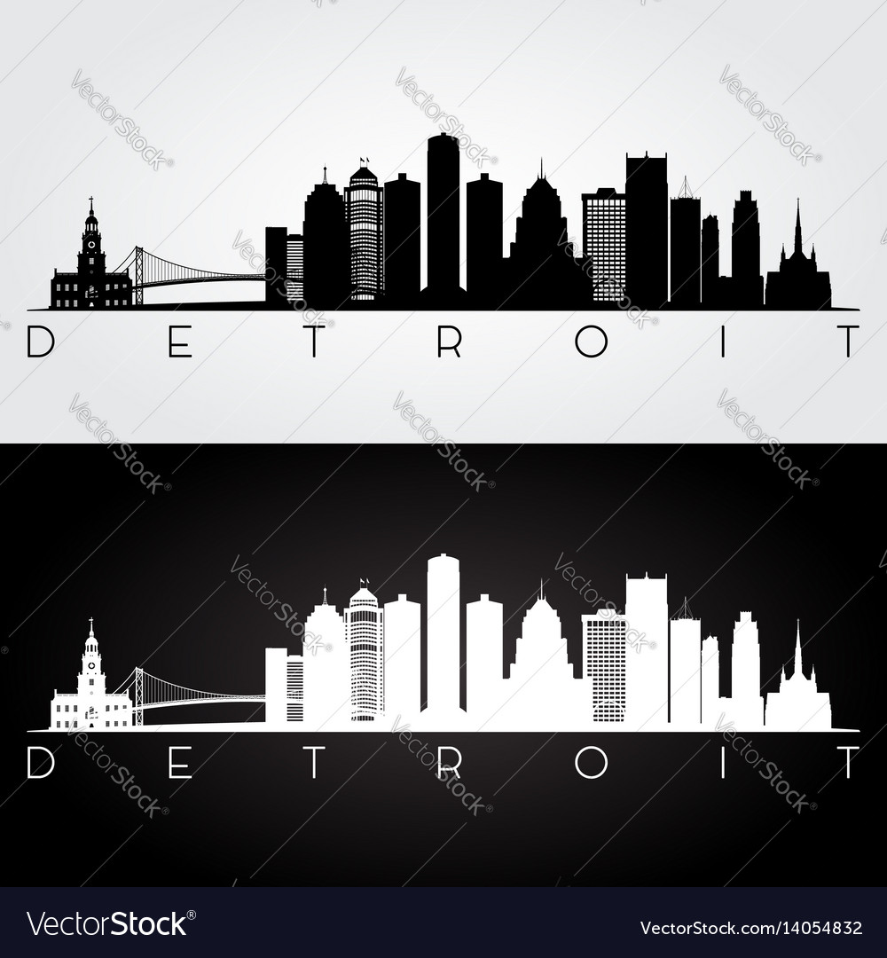 Detroit usa skyline and landmarks silhouette