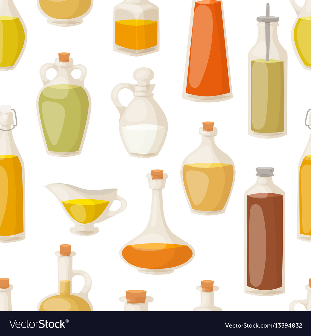Different food oil in bottles seamless pattern