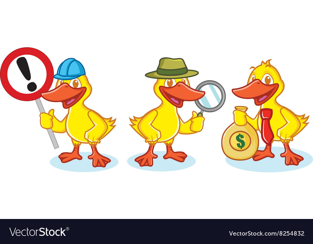 Duck Mascot with sign vector image