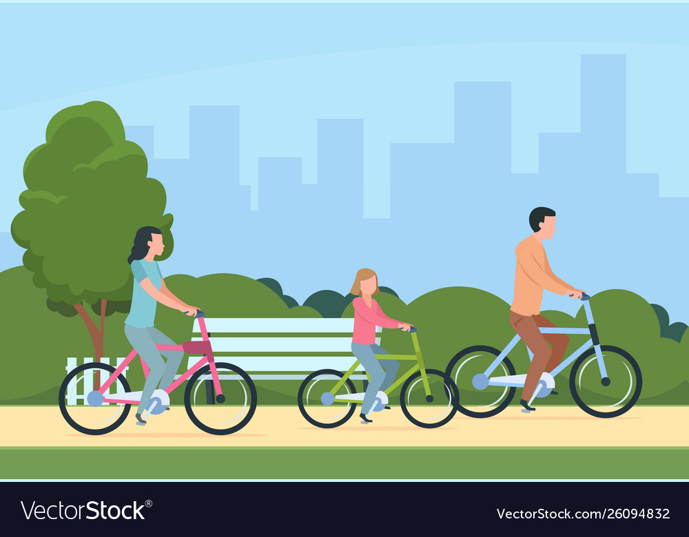 Family riding bikes mother father and children