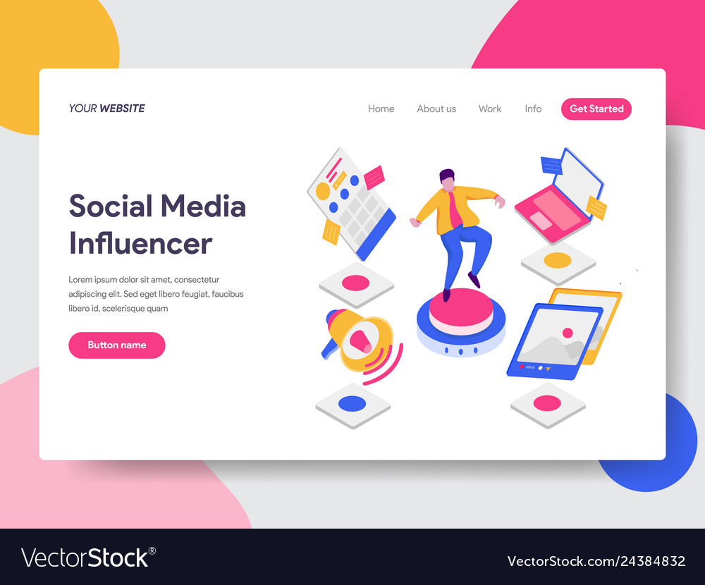 Landing page template of social media influencer