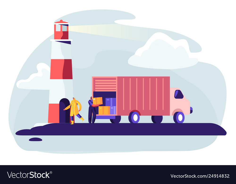 Logistics transportation container ship with truck