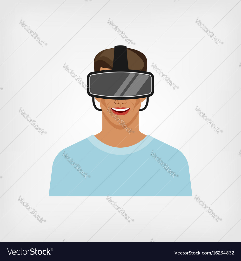 Man in glasses virtual reality vector image