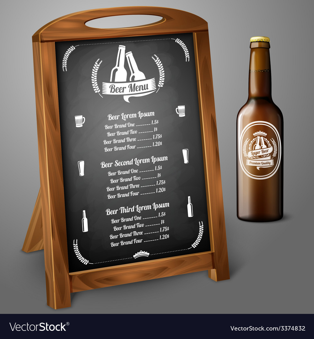 Menu template on chalkboard - for beer and alcohol