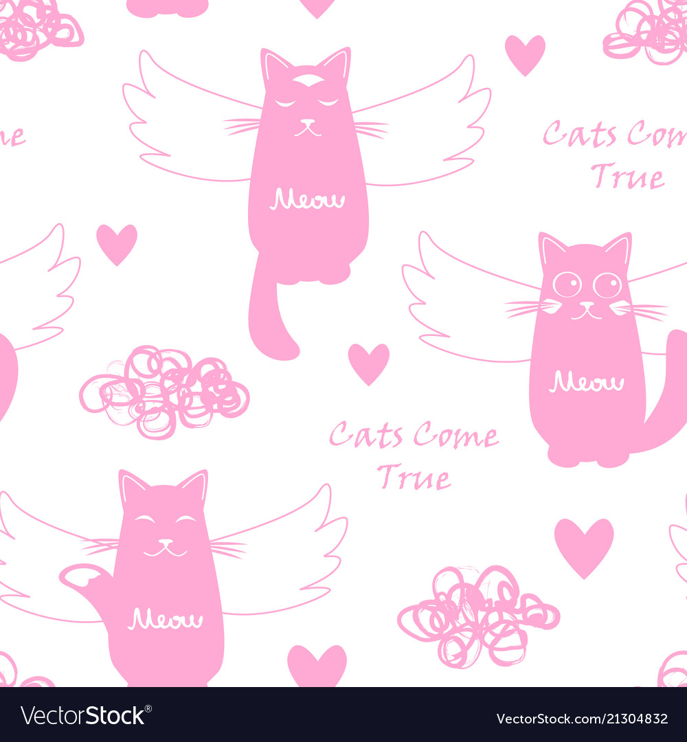 Seamless pattern with flying cats