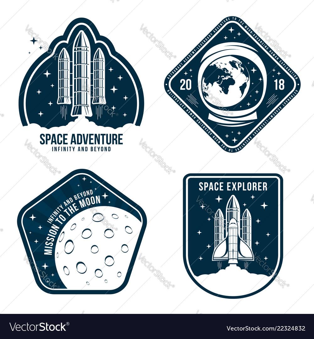 Space badges with astronaut helmet rocket launch