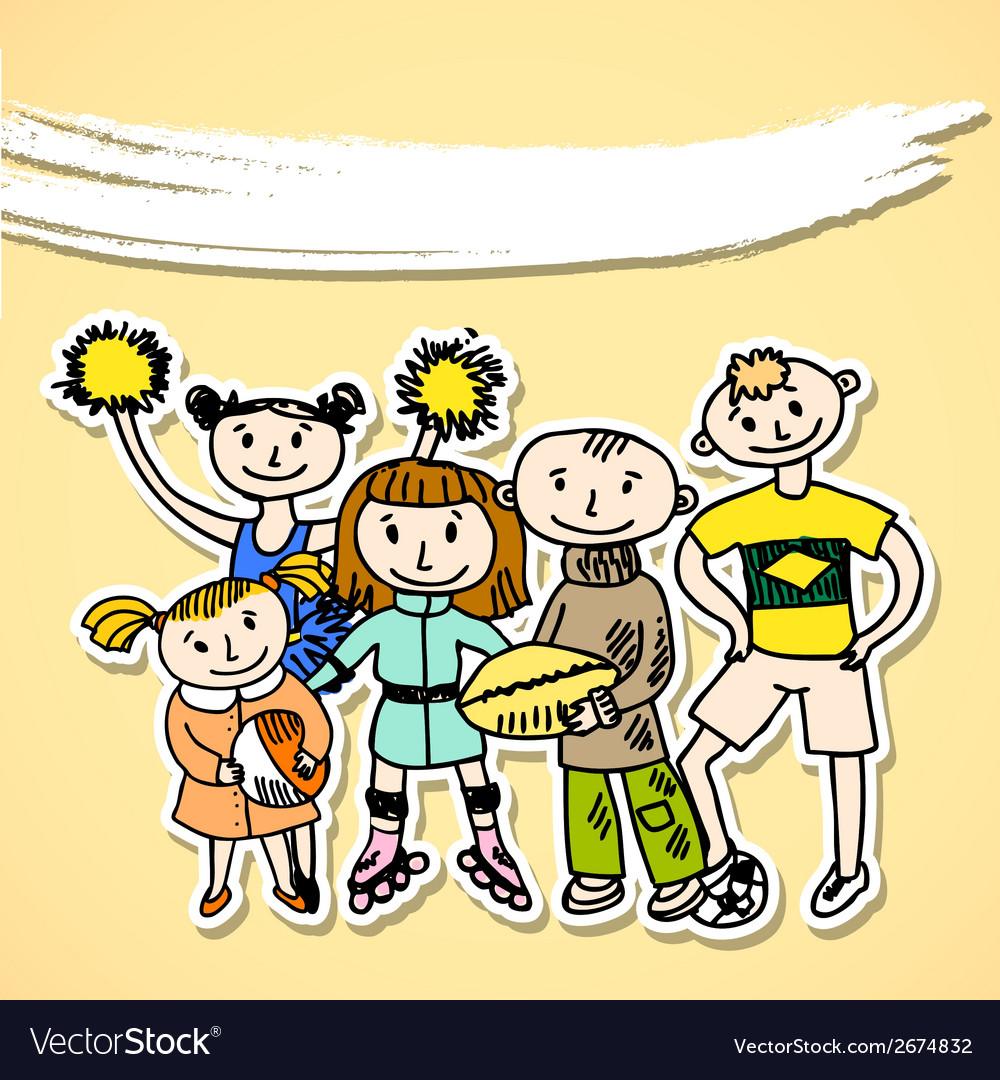 Sport playing carton kids vector image