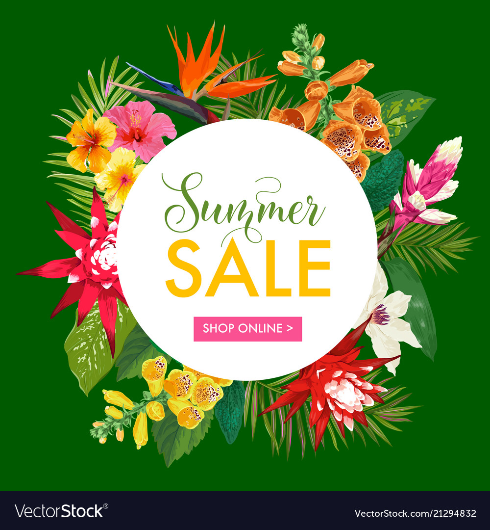 Summer sale tropical banner promotion discount
