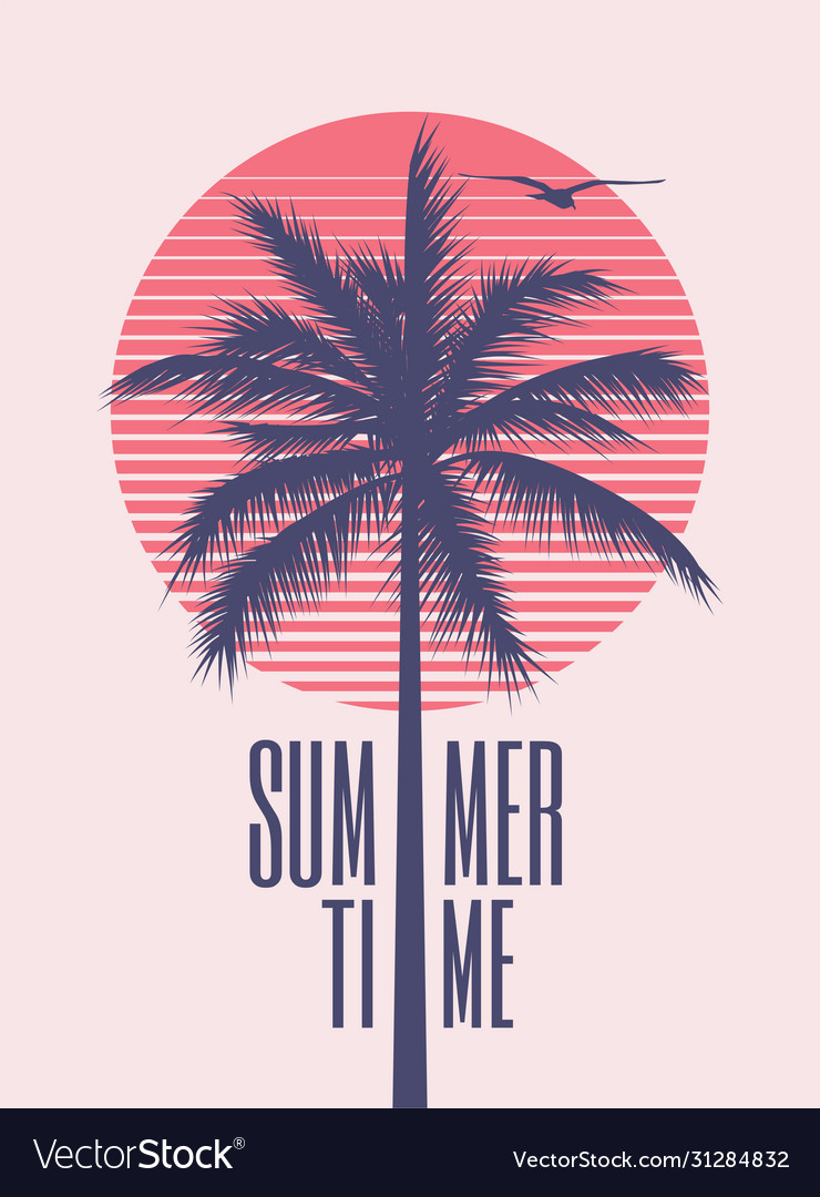 Summer time minimalistic vintage styled poster