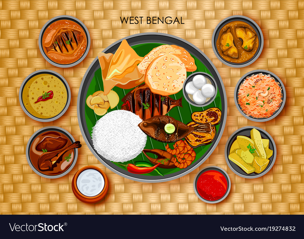 Traditional bengali cuisine and food meal thali of traditional bengali cuisine and food meal thali of vector image forumfinder Choice Image