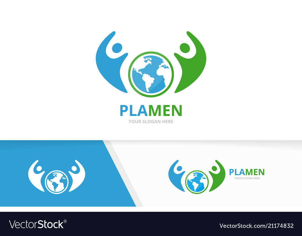 World and people logo combination earth