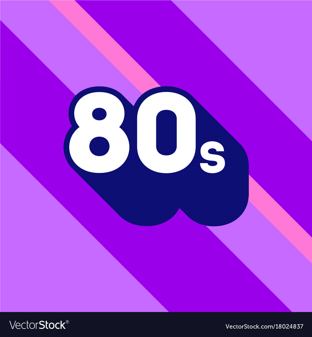 80s logo design 1980s sign with long shadow vector image